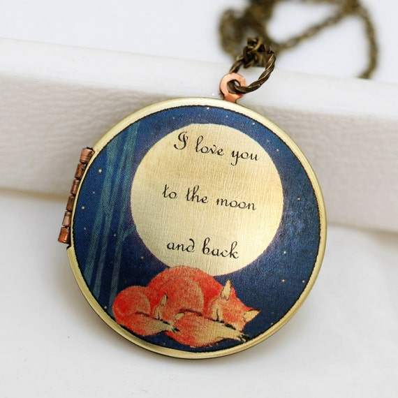 Sleepy Fox,Brass Locket, Fox,Sleep,Red,Mom,Baby,Antiqued Locket, I love you to the moon and back, Photo Image Round 38mm Vintage Locket,Mon