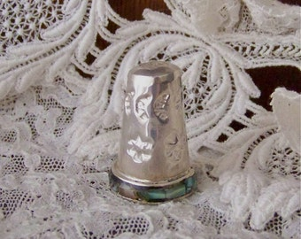 Vintage Sterling Silver 925 Thimble Abalone Shell Sewing Room Thimble Collector Vintage 1980s