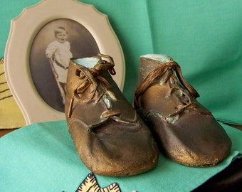 Vintage Bronze Leather Baby Shoes Photo Prop Baby Shower Baby Keepsake Preserved Baby Shoe Vintage 1940s