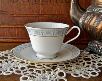 Vintage Teacup and Saucer Oxford Bone China Pale Blue Teacup and Saucer Gift For Mom 1960s