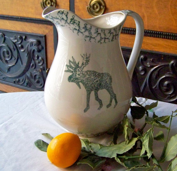 Vintage Ceramic Tienshan Moose Country Pitcher