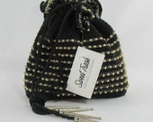 Vintage 1930s Black Crocheted Purse