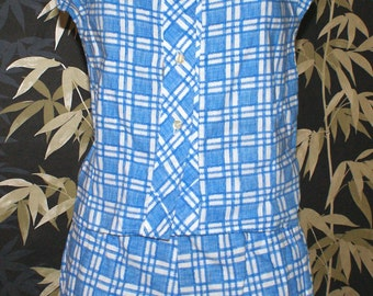 Vintage 1960s Duke blue check shorts and blouse XS waist 26 rockabilly VLV High