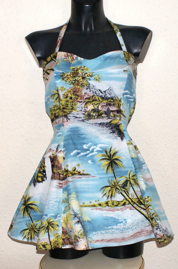 1950s Vintage inspired repro skirted swimsuit swimdress and bloomers Hawaiian print M waist 30 31 Viva rockabilly pinup