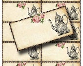 BLANK Teapot Labels Instant Download Digital Collage Sheet Whimsical Altered Art by GalleryCat CS68
