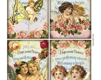 Vintage Cherubs and Roses Digital Collage Sheet Instant Download Paper Crafts Card Original Whimsical Altered Art by Gallery Cat CS32