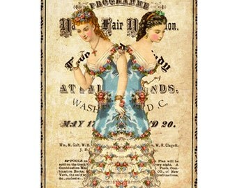 Victorian TWO-HEADED LADY  Digital Collage Sheet Instant Download for Paper Crafts Art Projects Whimsical Altered Art by GalleryCat CS81