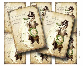 Vintage CAT WEDDING Digital Collage Sheet Paper Crafts Album Decoupage Original Whimsical Instant Download GalleryCat CS142