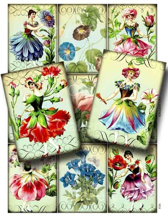 FLOWER FAIRY Digital Collage Sheet Instant Download for Paper Crafts Cards Decoupage Original Whimsical Altered Art by Gallery Cat CS36