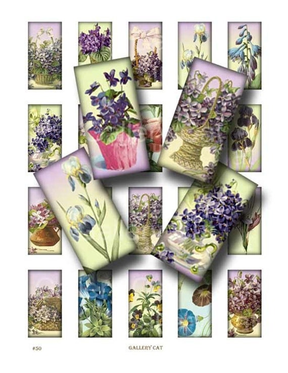 VINTAGE FLOWERS  Digital Collage Sheet Instant Download Paper Crafts Jewelry Original Whimsical Altered Art by GalleryCat CS50