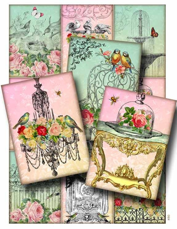 vInTaGe bLiSs  Digital Collage Sheet Instant Download for Paper Crafts Card Decoupage Original Whimsical Altered Art by Gallery Cat CS80