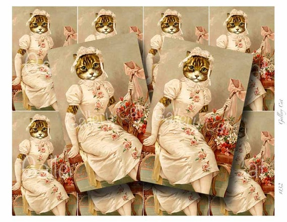VINTAGE CAT with Lilies Digital Collage Sheet Instant Download for Paper Crafts Card Original Whimsical Altered Art by GalleryCat CS132