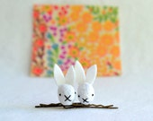 white rabbit bobby pins - cute felt bobby pins