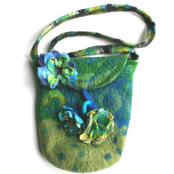 Felt Green Blue Purse Bag with Felt Flowers and Pin