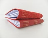 Leather journal, blank journal, unlined notebook, reclaimed leather notebook, red leather