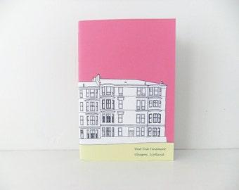 Scottish Journal, Hot Pink Glasgow notebook, A5 Notepad, Travel Journal, Pink Journal
