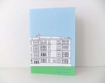 Glasgow Journal, A5 notebook, Blank notebook, travel journal, pastel blue journal, sketchbook, unloned journal