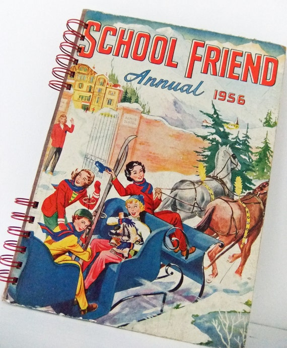 Vintage notebook /journal - School Friend Annual 1956 - great gift for a friend