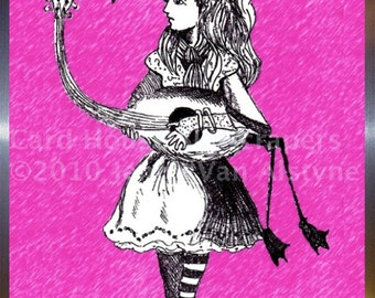 Alice in Wonderland Art, Alice & Flamingo -  framed  8  x 10 print, Tim Burton Inspired, proceeds to Alzheimer's Association