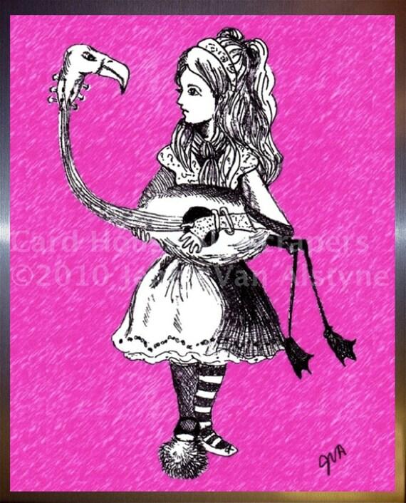 Alice in Wonderland Art, Alice & Flamingo -  framed  8  x 10 print, Tim Burton Inspired, proceeds to Alzheimer's Association