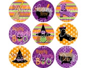 Halloween Wickedly Cute Witch 1 Inch Circles Collage Sheet 4 x 6 Inch JPG for Bottlecaps Hairbows Jewelry Magnets and More INSTANT DOWNLOAD