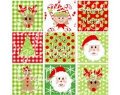 Christmas Traditions Red and Green 1 Inch Squares Digital Collage Sheet 4 x 6 Inch JPG for Bottlecaps Hairbows Jewelry Magnets and More