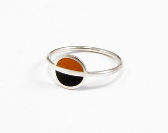 Sterling Silver Ring, Modern, Saturn, Black and Orange, Contemporary, Minimal