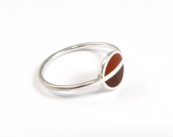 Sterling Silver Ring, Saturn, Brown, Colors, Contemporary, Modern, Minimal