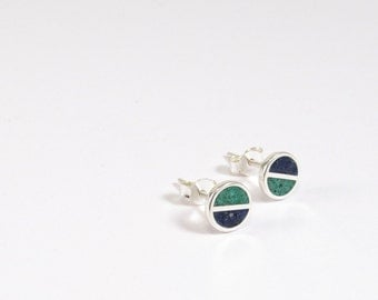 Sterling Silver Earrings, Blue and Green, Divided Circles, Modern, Contemporary, Minimal