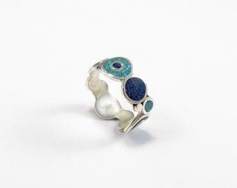 Sterling Silver Ring - Sea Color Bubbles