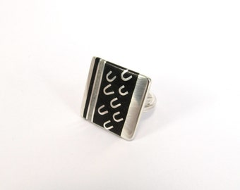 Sterling Silver Ring, Square, Geometric, Black, White, Adjustable, Contemporary, Modern
