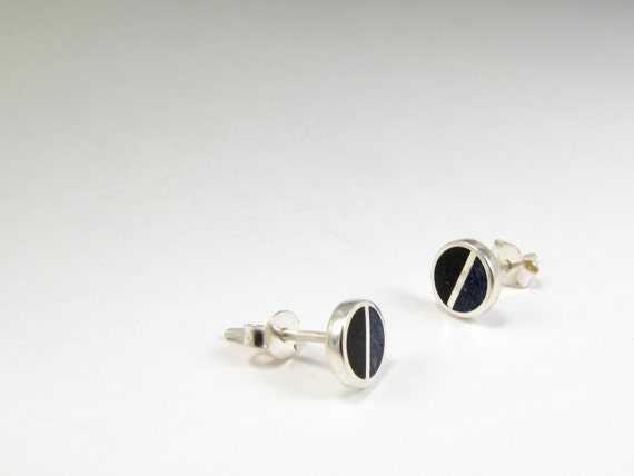 Sterling Silver Earrings, Black and Blue, Divided Circles, Cold, Modern, Contemporary, Minimal