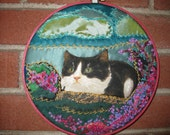 Crazy Quilt,Wall hanging   Lovely Cat in a Pink Flowers Garden Embroidered  in a hoop