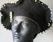 Classy Black Crochet Beret with Colourful Buttons & Metal Findings...