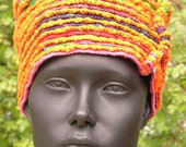 Festive Orangy Colorful Crochet Beehive Hat with an Orange Glass Hat Pin...