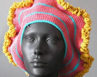Mega Colorful Pink Blue & Yellow Crochet Hat...