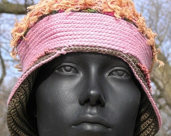 Pink Gray with Fluffy Beige Peruvian-Inspired Crochet Hat...
