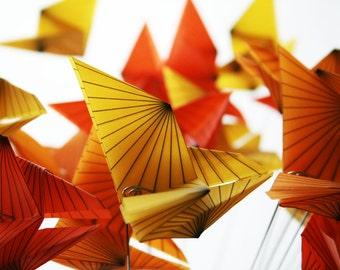 Origami Monarch Butterflies - Translucent Origami Flower Bouquet - Large bouquet of fluttering butterflies - Unique Gift Idea