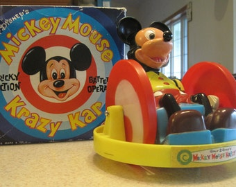 Walt Disney's Mickey Mouse Krazy Kar, Tricky Action Battery Operated, Marx Toys - Rare Find