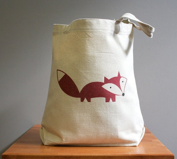 Canvas tote bag, fox, happy cute and adorable. Sturdy 100% 10oz. cotton canvas.