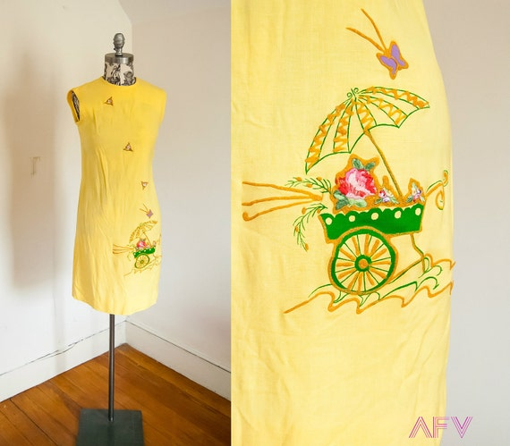 Vintage 60s Novelty Dress - Yellow Dress - Mad Men Dress - Embroidered Butterfly Dress - Spring Baskets