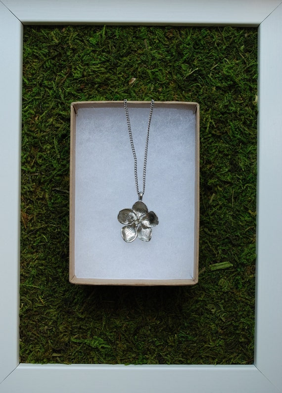 Apple Blossom Necklace in recycled pewter