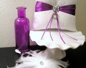 White Damask with Purple Ribbon Ring Pillow