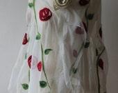 SALE    White Chiffon silk shawl with handfelted rose motif ethnic style