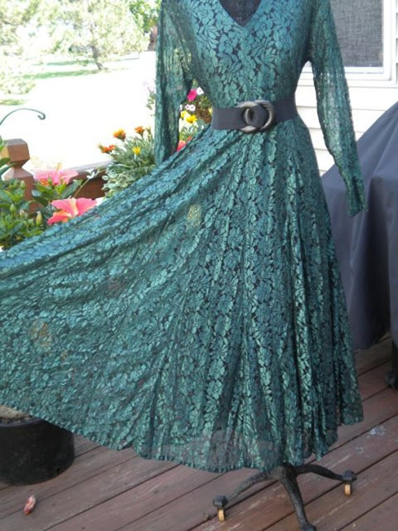 SALE  Vintage 1970's 1980's Lace Sheer Gypsy Hippie Long Maxi Dress