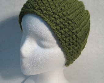 Hand Knit Wool Blend Avocado Ribbed Hat, FREE Shipping in Continental United States