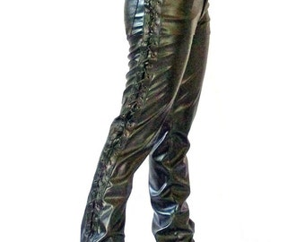 Laced women pleather pants