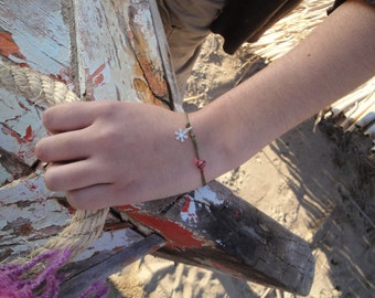 snow white silver snow flake-   sterling silver bracelet- dangle jewelry - turqoise bracelet- thread bracelet- sweet girly hipster