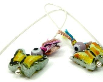 yellow earrings-lime yellow butterfly- glass earrings-hand painted butterfies-evil eye earrings- thread earrings-bright colors
