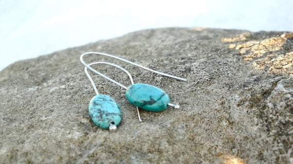 turquoise earrings for her- sterling silver ball pin base- eco friendly- high fashion- beach- natural- FREE SHIPPING